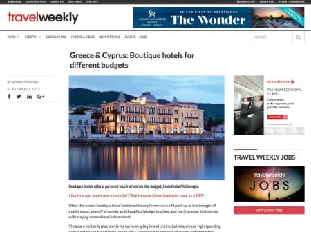 2016 Canaves O Travel Weekly Featured