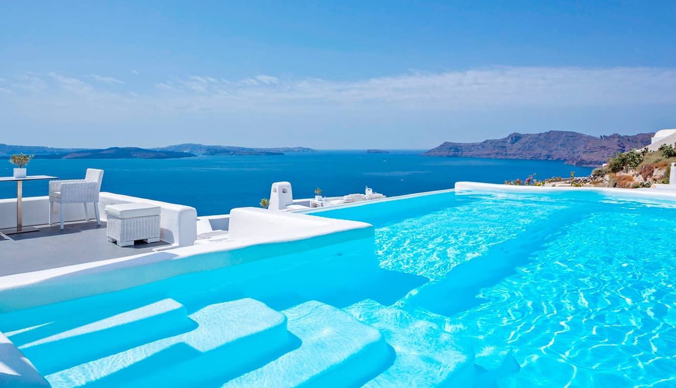 the pool canaves oia santorini. Black Bedroom Furniture Sets. Home Design Ideas